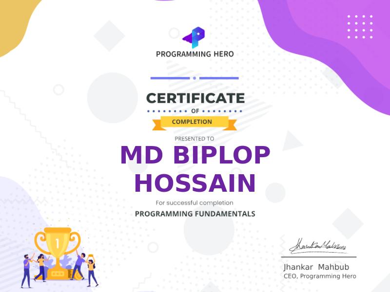 Programming Hero Certificate